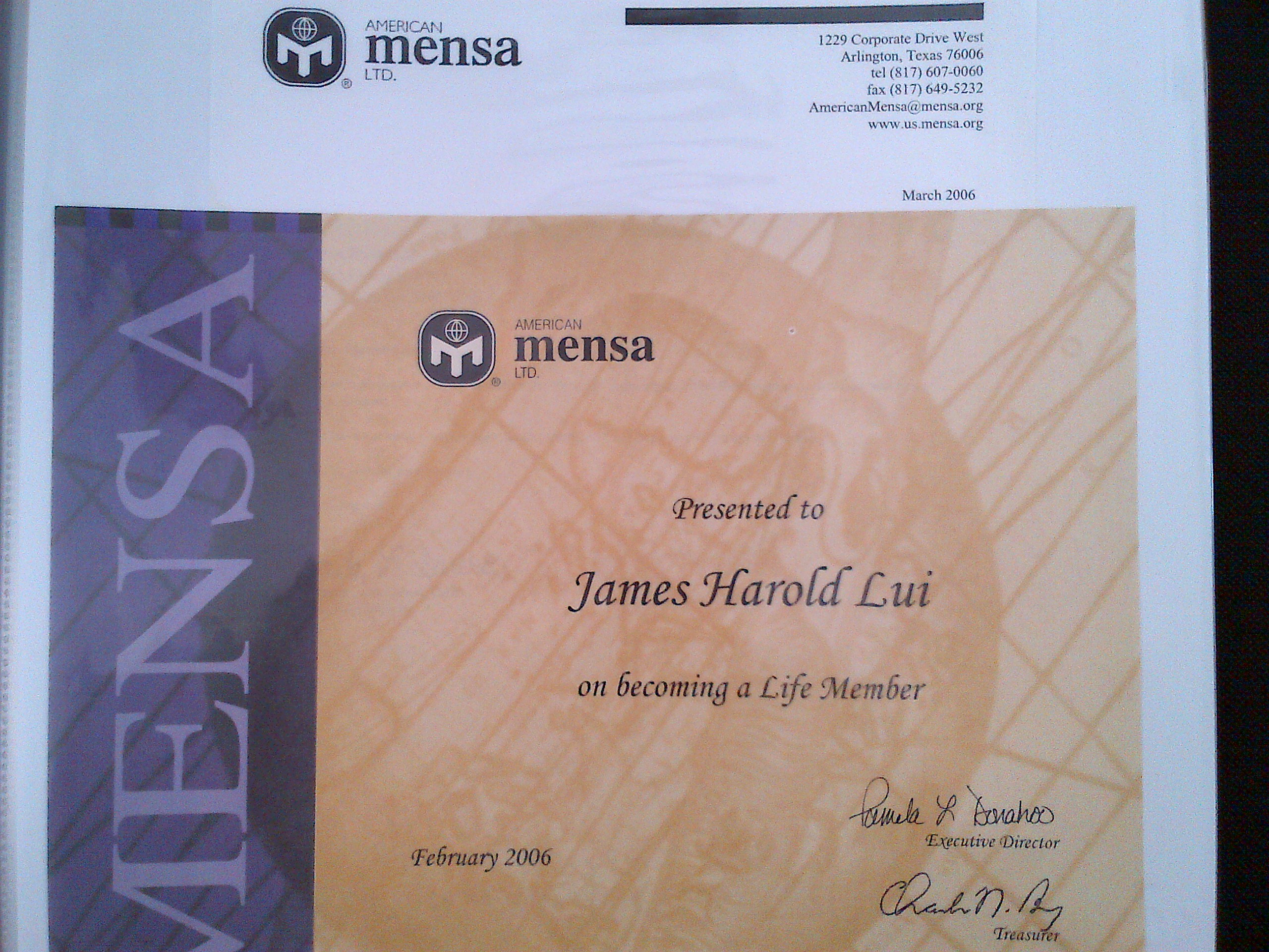 Mystery of the mensa lymp thoughts from james h lui mensa lifetime membership certificate 1betcityfo Images