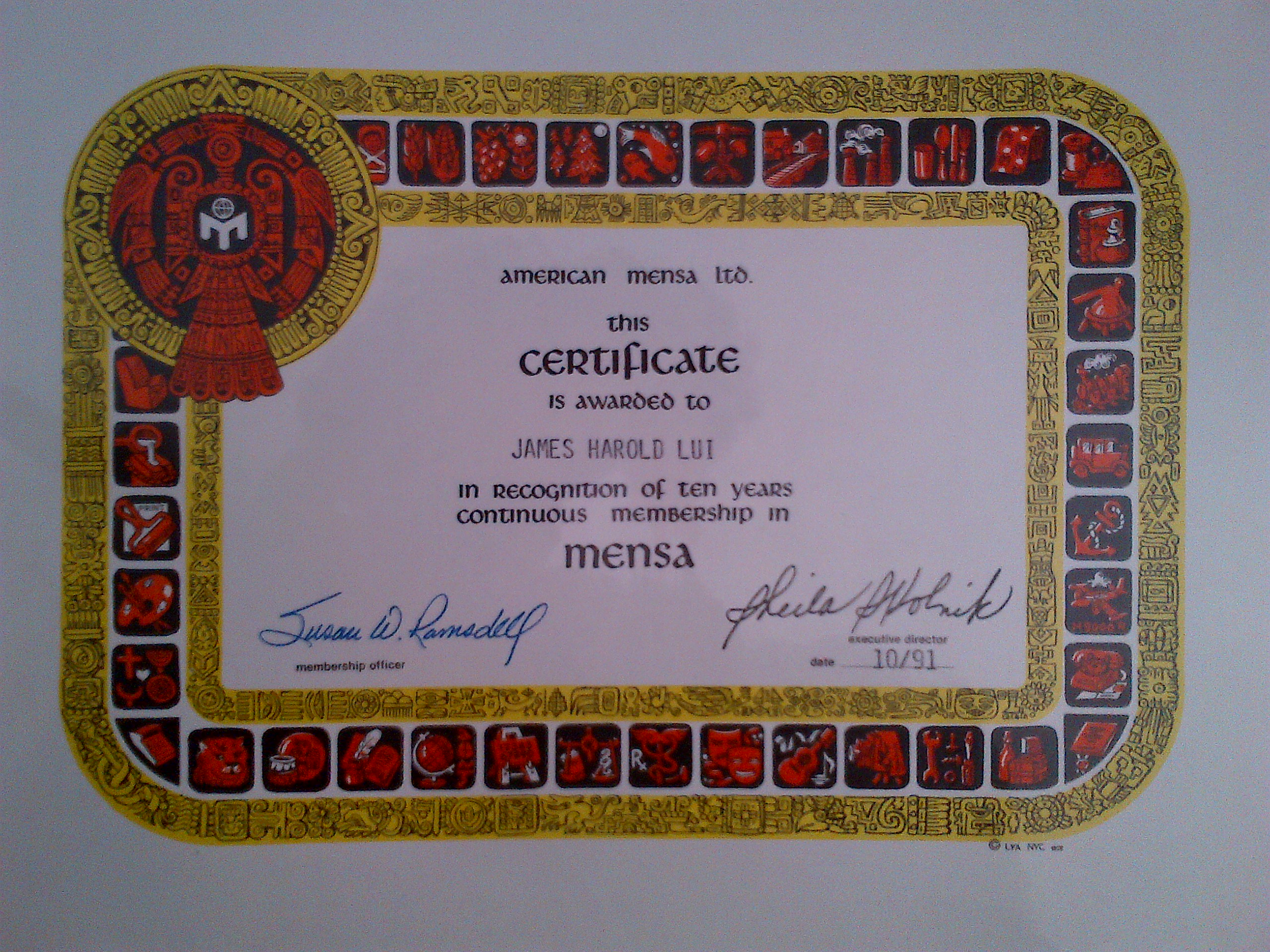 Mystery of the mensa lymp thoughts from james h lui 10 year mensa certificate 1betcityfo Images