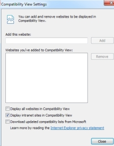 Tools -> Compatibility View Settings