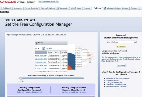 Oracle software configuration manager delivering configuration.