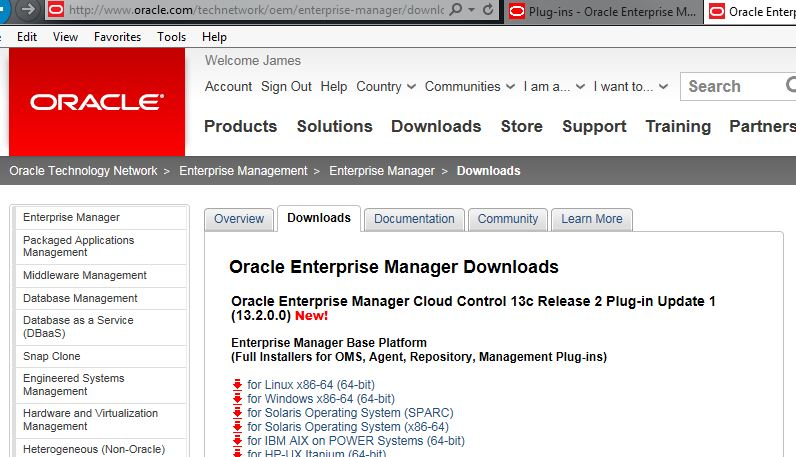 Download page for OEM 13c R2